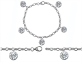 Original Star K™ High End Tennis Charm Bracelet With 5pcs 7mm Genuine Round White Topaz