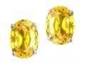 Tommaso Design™ Oval 7x5mm Genuine Yellow Sapphire Earrings Studs