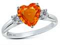 Original Star K 8mm Heart Shape Simulated Mexican Fire Opal Engagement Ring