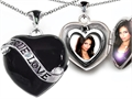 Original Star K Large Genuine True Love 2 Picture Heart Black Enamel Locket