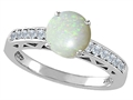 Tommaso Design™ Genuine Opal and Diamond Solitaire Engagement Ring