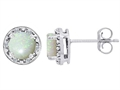 Tommaso Design Genuine 6mm Round Opal and Diamond earring Studs