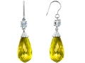 Original Star K™ Briolette Drop Cut Simulated Yellow Sapphire Hanging Hook Chandelier Earrings