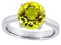 Original Star K Large Solitaire Big Stone Ring with 10mm Round Simulated Yellow Sapphire