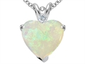 Tommaso Design 8mm Heart Shape Genuine Opal and Diamond Pendant