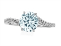 Tommaso Design™ Round 7mm Genuine Aquamarine and Diamonds Bypass Ring