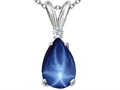 Tommaso Design™ Created Pear Shaped 9 x7 mm Star Sapphire and Diamond Pendant