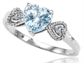 Tommaso Design Genuine Aquamarine and Diamond Heart Shape Engagement Promise Ring