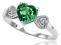 Tommaso Design™ Simulated Emerald and Diamond Heart Shape Engagement Promise Ring
