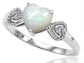 Tommaso Design Genuine Opal and Diamond Heart Shape Engagement Promise Ring
