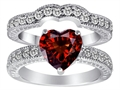 Original Star K™ 8mm Heart Shape Genuine Garnet Wedding Set