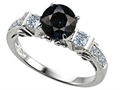 Original Star K Classic 3 Stone Engagement Ring With Round 7mm Genuine Black Sapphire