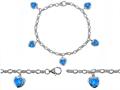 Original Star K™ High End Tennis Charm Bracelet With 5pcs 7mm Created Heart Blue Opal
