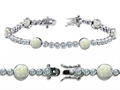 Original Star K™ High End Tennis Bracelet With 6pcs 6mm Created Round Opal