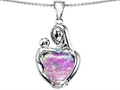 Original Star K™ Large Loving Mother With Child Pendant With 12mm Heart Shape Created Pink Opal