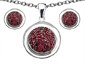 Original Star K Created Ruby Round Puffed Pendant Box Set with matching earrings