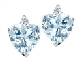 Tommaso Design™ 7mm Heart Shape Simulated Aquamarine and Genuine Diamond Earrings Studs