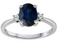 Tommaso Design™ 8x6mm Oval Genuine Sapphire and Diamond Engagement Ring