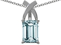 Tommaso Design Emerald Cut 8x6mm Genuine Aquamarine Pendant