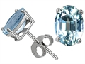 Tommaso Design Oval 8x6mm Genuine Aquamarine Earring Studs