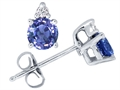 Tommaso Design Round Genuine Tanzanite and Diamond Earrings