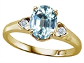 Tommaso Design™ Oval 8x6mm Genuine Aquamarine Ring