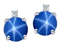 Tommaso Design Round Created Star Sapphire and Genuine Diamond Earring Studs
