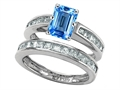 Original Star K™ Emerald Cut Genuine Blue Topaz Wedding Set