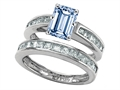 Original Star K Emerald Cut Simulated Aquamarine Wedding Set