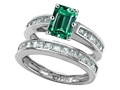 Original Star K Emerald Cut Simulated Emerald Wedding Set