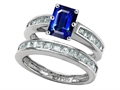 Star K™ Emerald Cut Created Sapphire Wedding Set