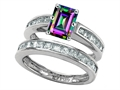 Original Star K Emerald Cut Mystic Rainbow Topaz Wedding Set