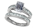 Original Star K Emerald Cut Genuine White Topaz Wedding Set