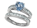 Original Star K™ Heart Shape Simulated Aquamarine Wedding Set