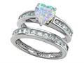 Original Star K™ Heart Shape Simulated Opal Wedding Set