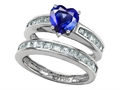 Original Star K™ Heart Shape Created Sapphire Wedding Set