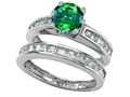 Star K™ Round Simulated Emerald Wedding Set