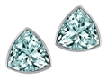 Tommaso Design™ Trillion Cut Genuine Aquamarine Earrings Studs
