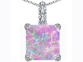 Original Star K Large 12mm Square Cut Created Pink Opal Pendant
