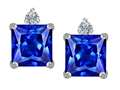 Original Star K™ 7mm Square Cut Simulated Tanzanite Earrings Studs