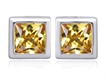 Original Star K™ 8mm Square Cut Simulated Imperial Yellow Topaz Earrings Studs