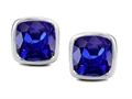Original Star K 8mm Cushion Cut Simulated Tanzanite Earring Studs