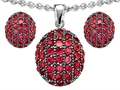Original Star K™ Created Ruby Oval Puffed Pendant with matching earrings
