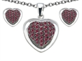 Original Star K Created Ruby Heart Shape Love Pendant Box Set with matching earrings