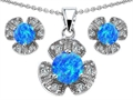 Original Star K™ Created Blue Opal Flower Pendant Box Set With Matching Earrings