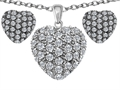 Original Star K Cubic Zirconia Puffed Heart Love Pendant Box Set with matching earrings