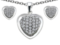 Original Star K Cubic Zirconia Heart Shape Love Pendant Box Set with matching earrings