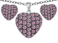 Original Star K Created Pink Sapphire Puffed Heart Love Pendant Box Set with matching earrings