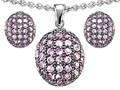 Original Star K Created Pink Sapphire Oval Puffed Pendant Box Set with matching earrings