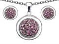 Original Star K Created Pink Sapphire Round Puffed Pendant Box Set with matching earrings